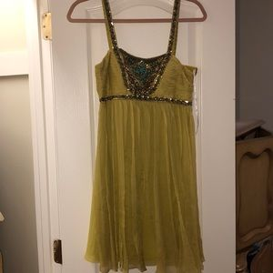Sue Wong Lime Green Beaded Boho Cocktail Dress